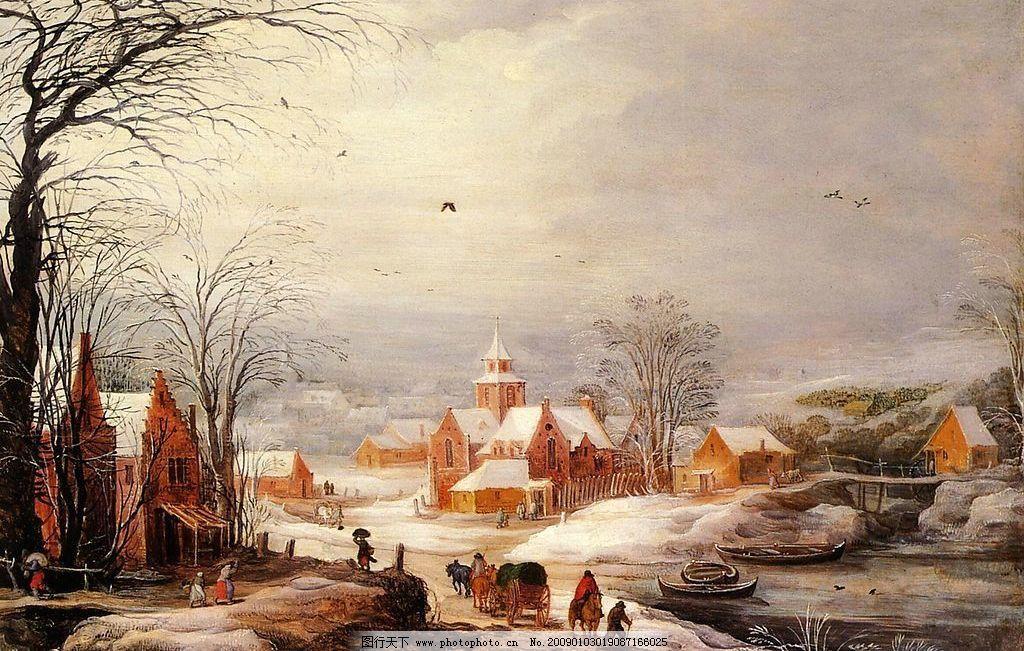 冬季城市 冬季风景 老城区 欧洲油画 中世纪荷兰 momper 设计图库 300