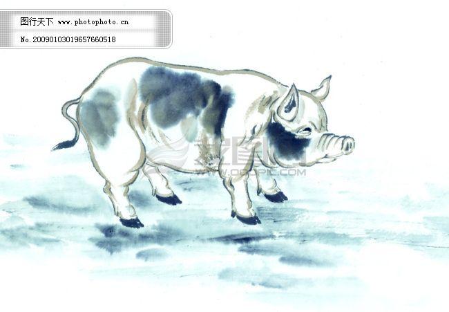 中华艺术绘画_古画_动物绘画_猪_中国古代绘画