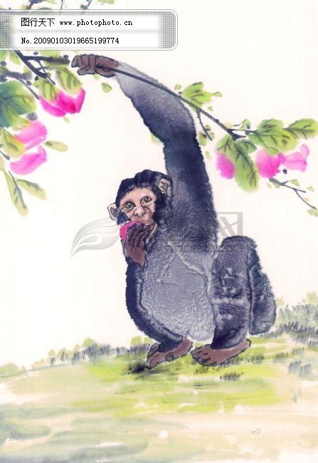 中华艺术绘画_古画_动物绘画_猴子_鹿_老虎_熊猫_鸭子_中国古代绘画