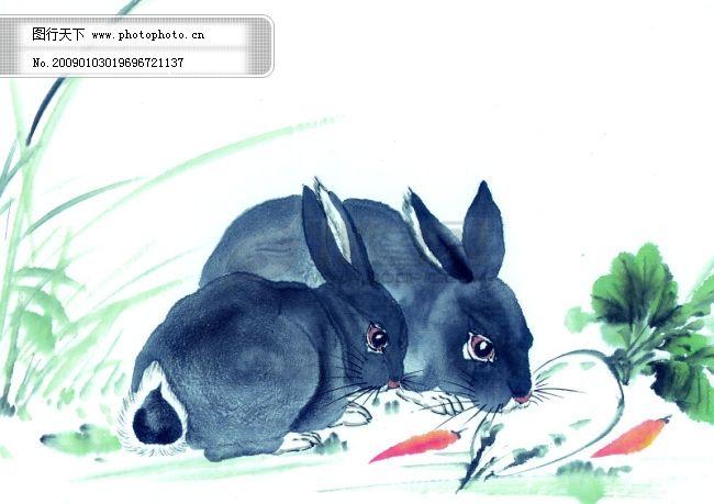中华艺术绘画_古画_动物绘画_兔子_中国古代绘画
