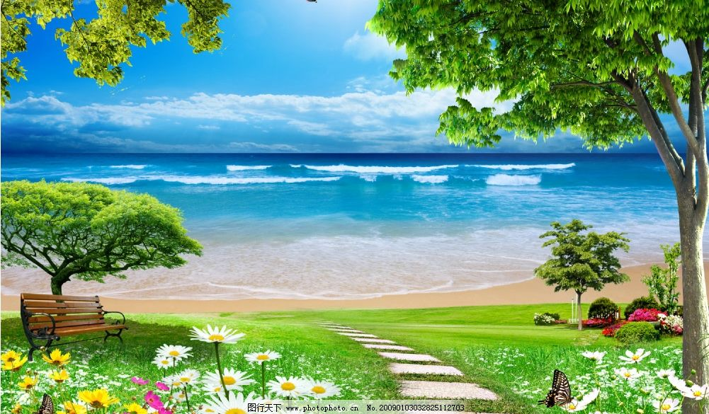 大海 海边风景 蓝天草地 风景树 椅子 小路 鲜花 白云 热气球