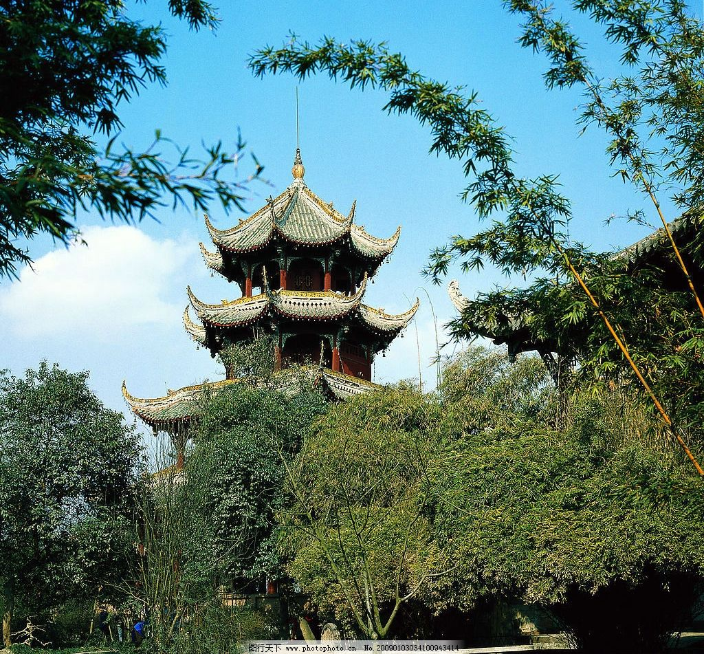 望江公园 竹子 亭台 成都 旅游 四川 风景名胜 国内风景 旅游摄影