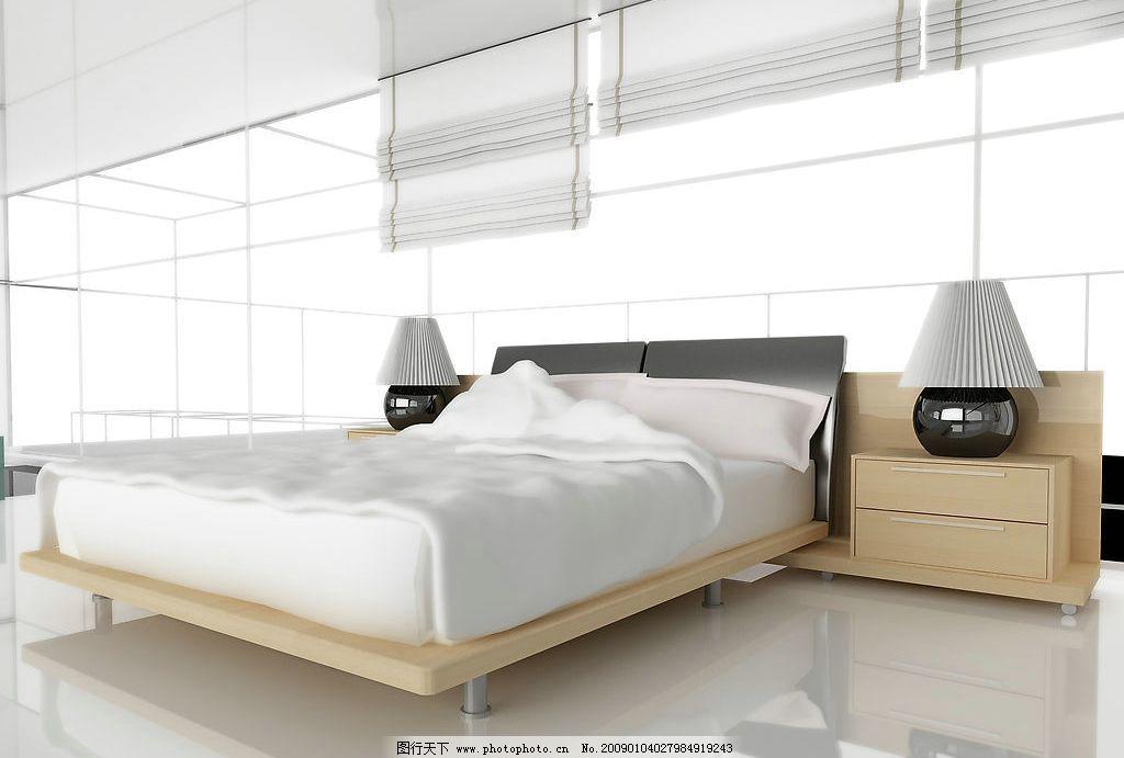 室内设计 房间 家居 卧室 床灯 柜子 窗帘