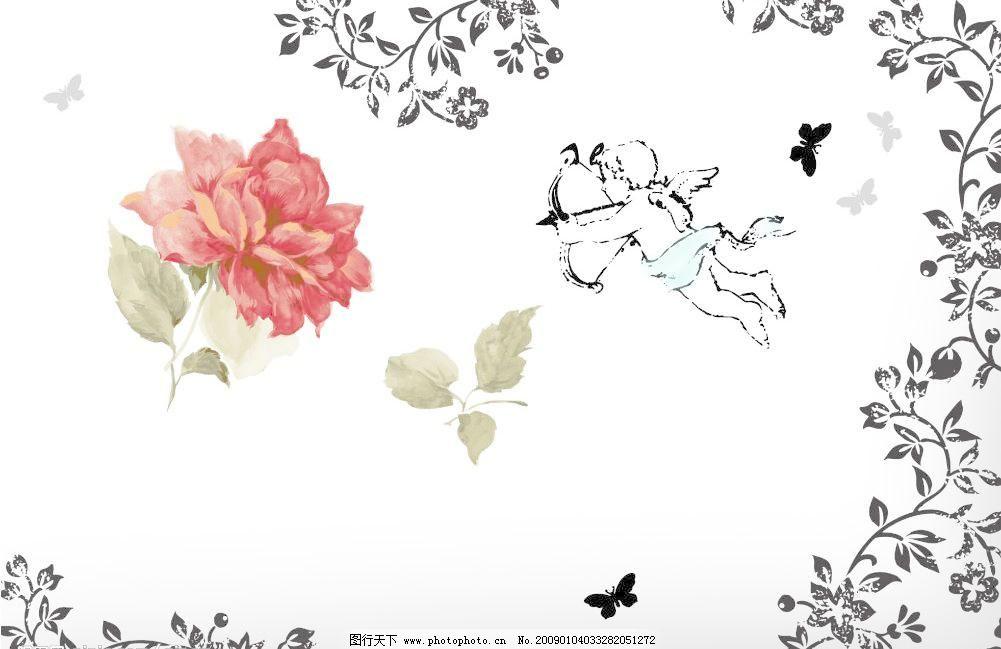 墨迹素材 颓废素材 梦幻素材 花 红花 红色玫瑰花 小天使 射箭 花纹
