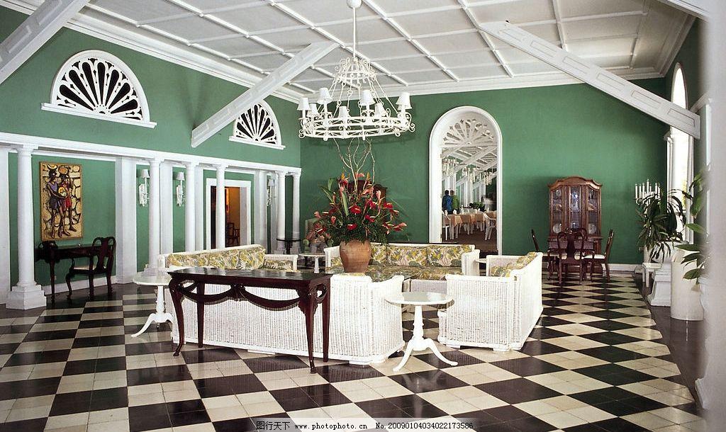 加勒比海室內裝潢 客廳 沙發 盆栽 柱子 窗戶 旅游攝影 國外旅游