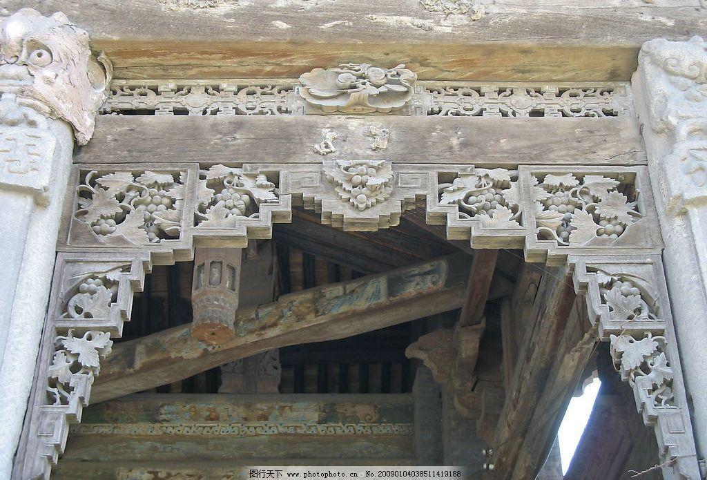雀替 木雕 雕刻 古建 彩绘 传统 庙宇 龙 吉祥 摄影图库