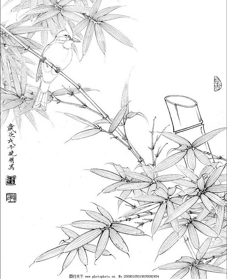 工笔画 竹 竹子 鸟 花鸟 文化艺术 绘画书法 设计图库