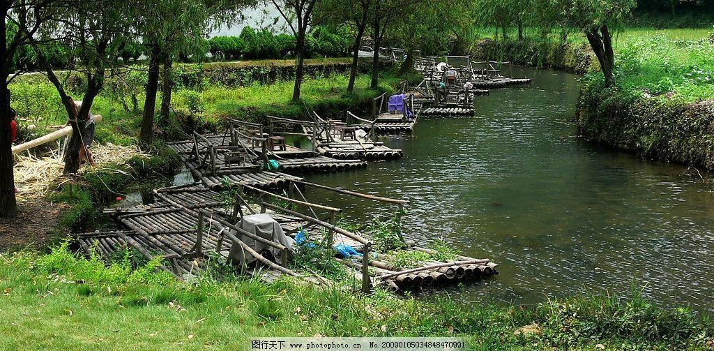 竹船 绿地 竹排 大树 河流 风景 厦门风景 自然景观 自然风景 摄影
