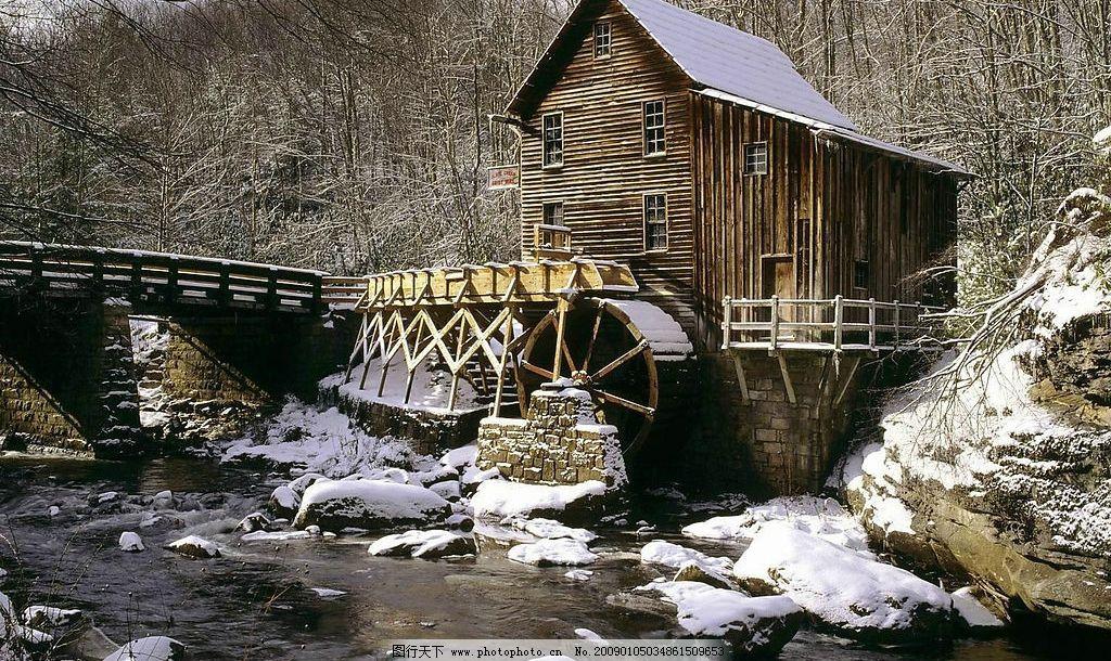 自然风景 水车 房屋 雪 树林 摄影图库