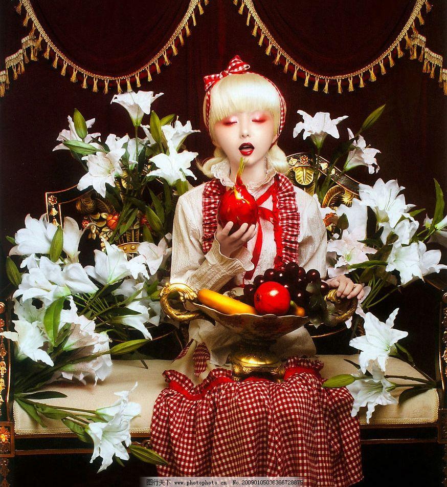 人物摄影 美女 洋娃娃 卡通 另类 百合花 花朵 浪漫 唯美人物