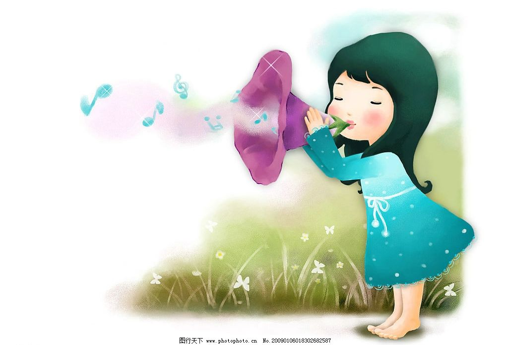 音符 穿蓝裙小女孩 梦幻 草地 蝴蝶花 蝴蝶 小白花 动画 动漫人物