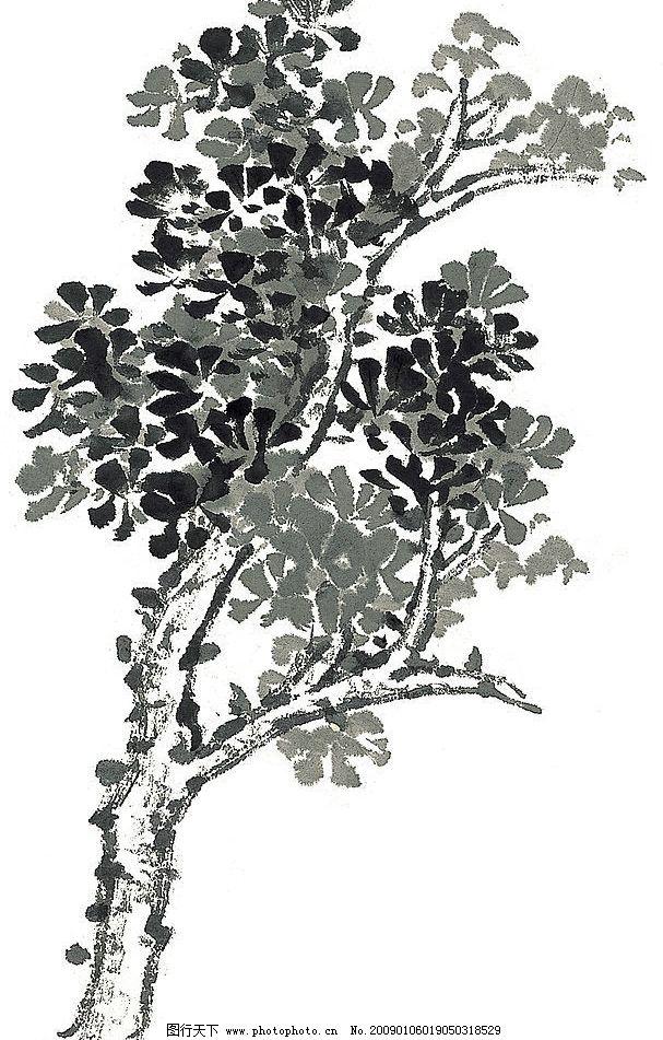 树木 国画 植物 水墨 蔬菜 文化艺术 传统文化 设计图库 350dpi jpg