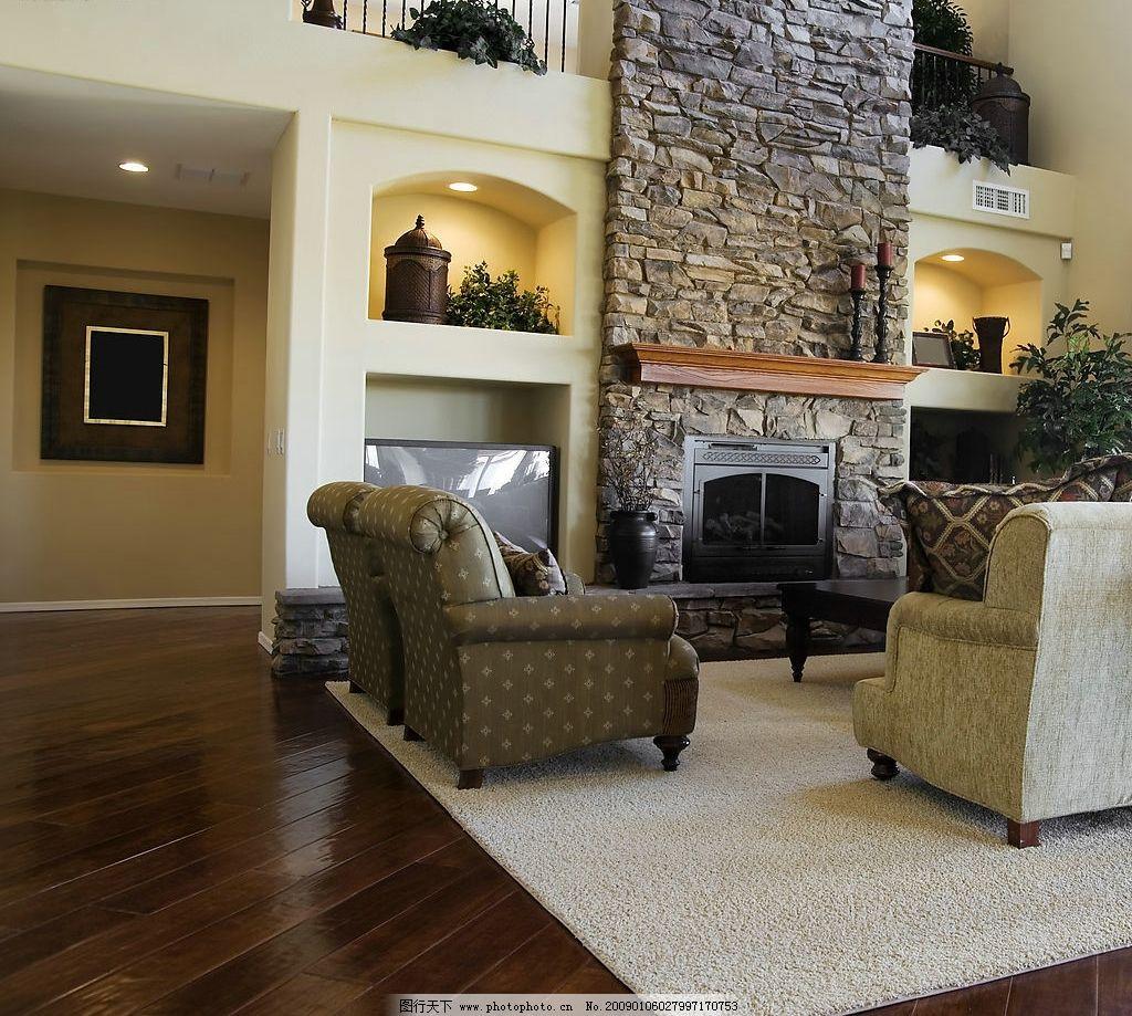 室内设计 欧式客厅 装饰 壁炉 地毯 文化墙 电视 地板