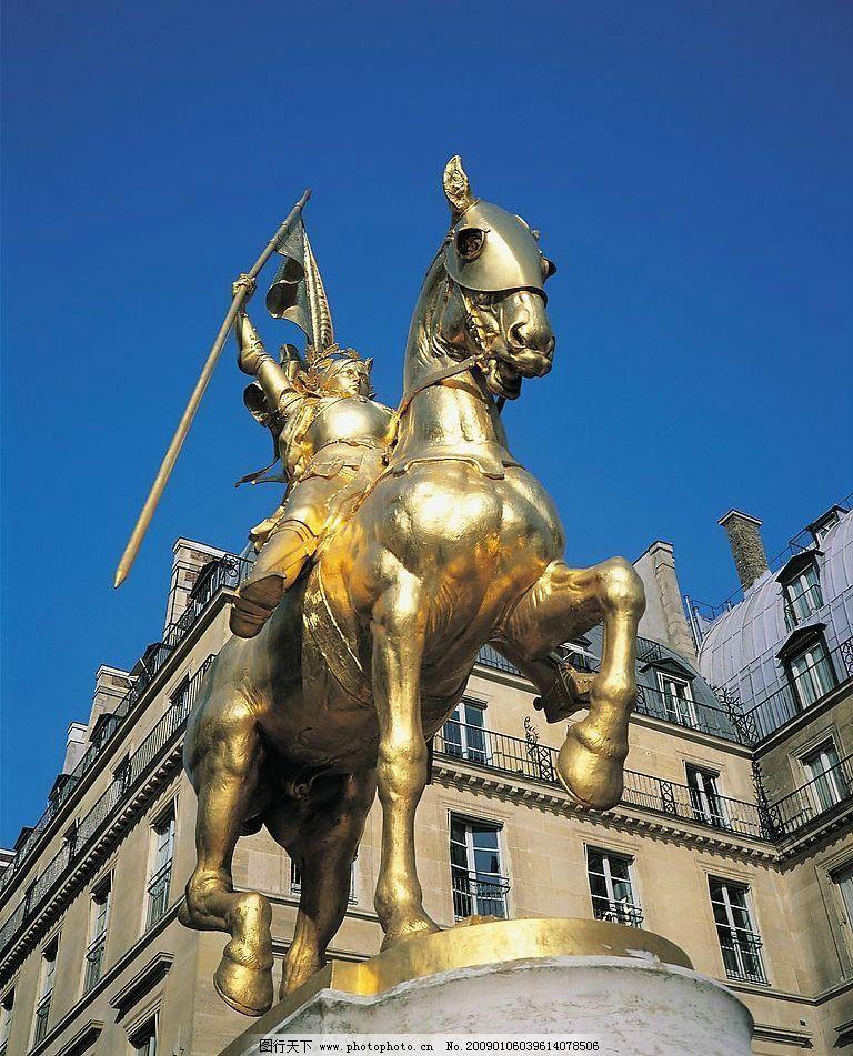 欧式雕塑 欧式 欧洲风格 雕塑 金黄 战马 仰视 胜利 进攻 建筑园林图片