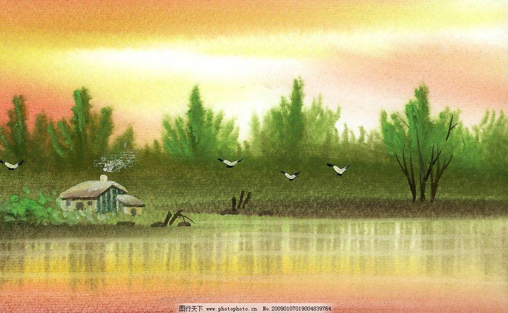 高精度水彩意境图 水彩画 鸟 意境 高精度 草地 美术 绘画 树木 河流 天空 房子 石头 文化艺术 绘画书法 水彩 素材 设计图库 540DPI JPG