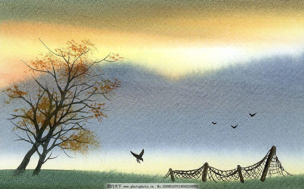 水彩画 鸟 意境 高精度 草地 美术 绘画 树木 河流 天空 房子 石头