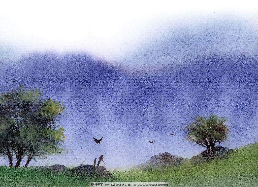 草地 美術 繪畫 樹木 河流 天空 房子 石頭 文化藝術 繪畫書法 水彩