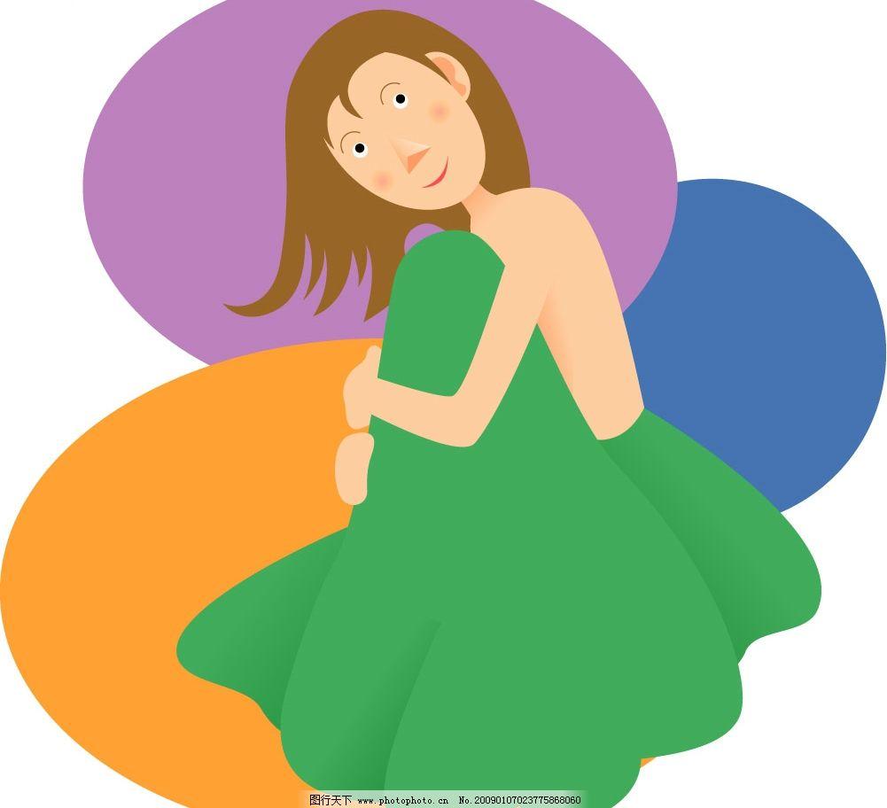 绿裙子女孩矢量图片