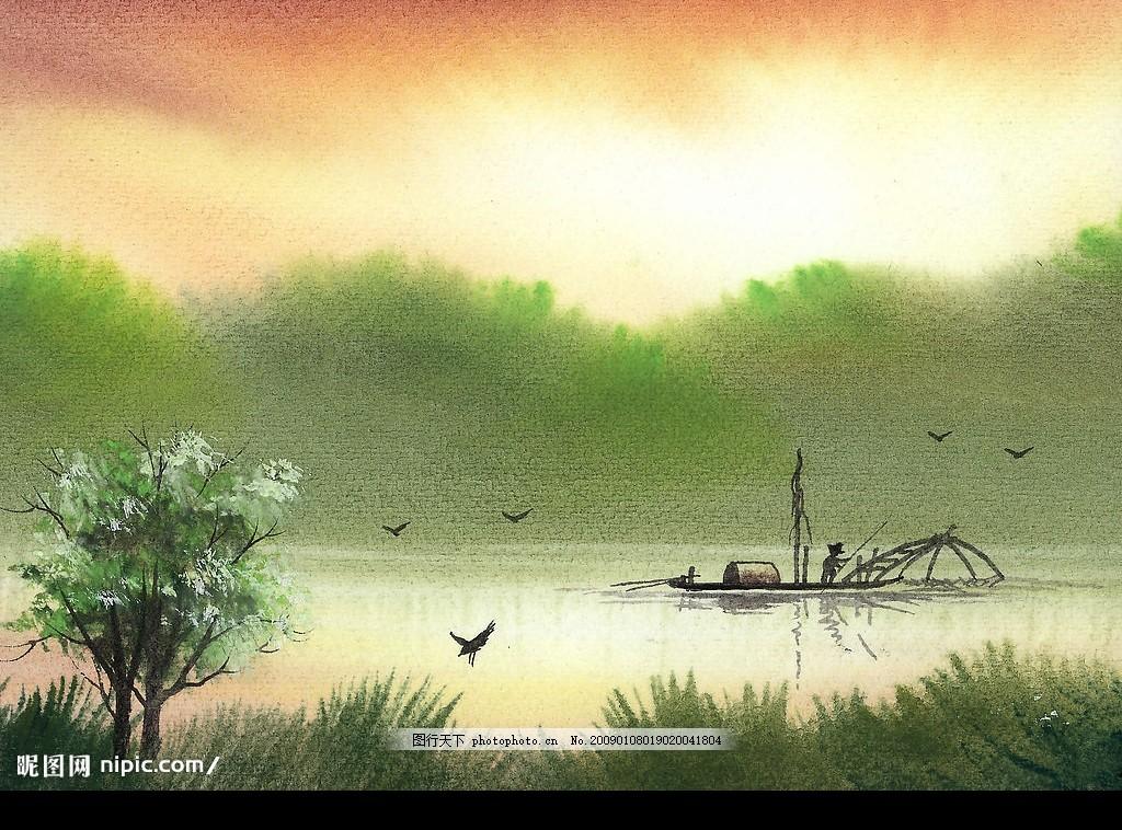 草地 美术 绘画 树木 河流 天空 房子 石头 文化艺术 绘画书法 水彩