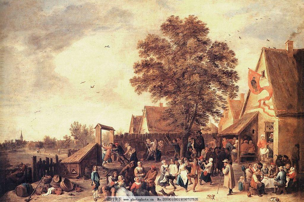 中世纪荷兰景观 欧洲油画 民俗节 夏季景观 文化艺术 绘画书法