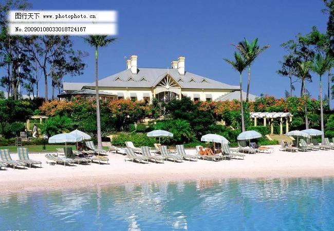 蓝天 海滩 大海 别墅图片