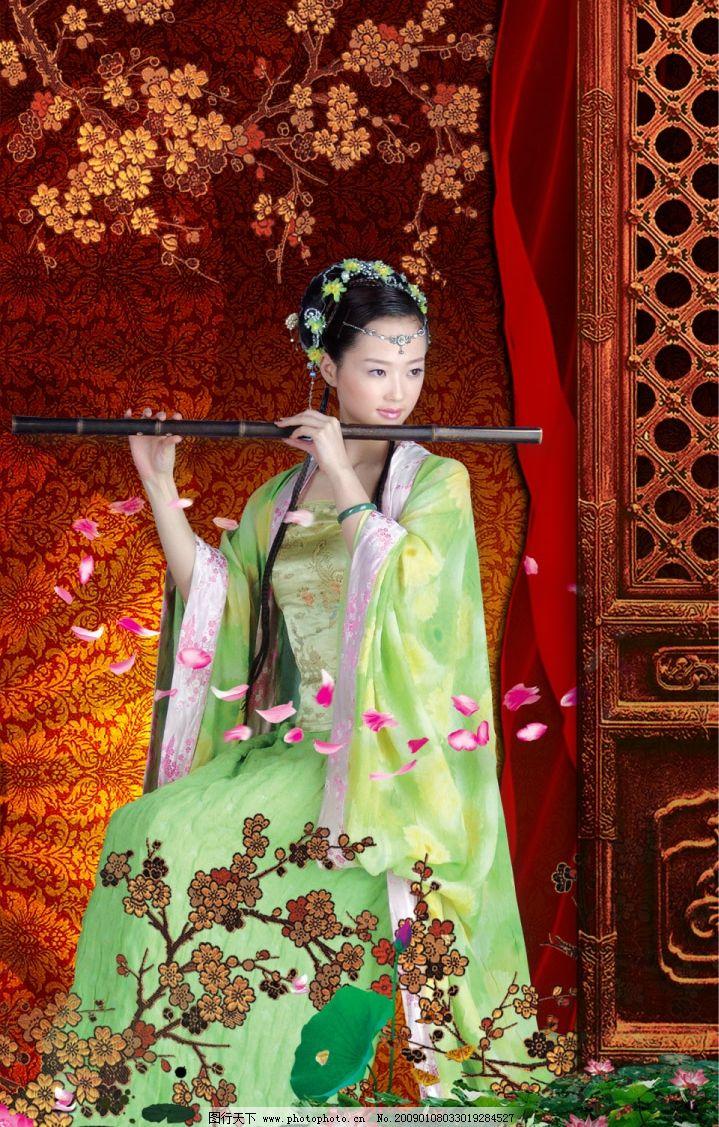古典美图 美女 花瓣 吹笛子 荷花 梅花 底纹 扇子 门 绸带