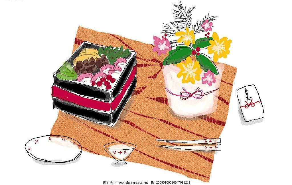 涂鸭 盘字 筷子 水果 花 盒饭 动漫动画 其他 设计图库 350dpi jpg