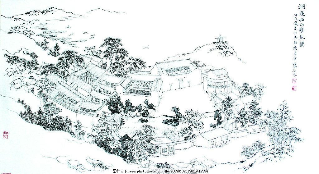 洞庭西山雕花楼 洞庭西山雕花楼俯视图 水墨 山水 古画 文化艺术 绘画
