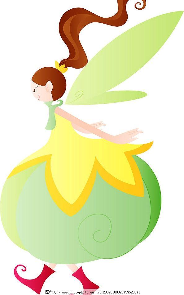 长发俏皮绿精灵 长发 俏皮 绿 精灵 女生 女孩 可爱 顽皮 侧面 矢量