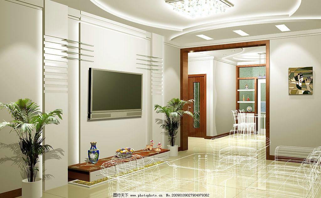 客厅装修      背景墙 装修        环境设计 室内设计 设计图库 72