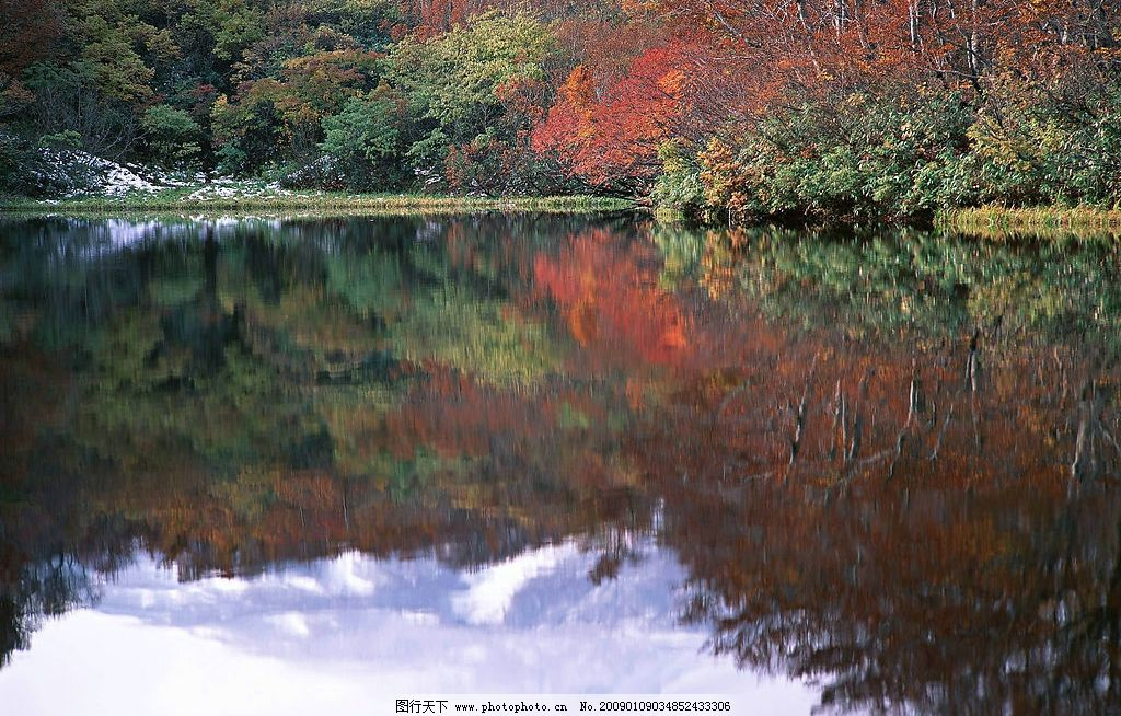 湖水 自然风光 自然背景 树木 倒影 枫叶 自然景观 自然风景 摄影图库