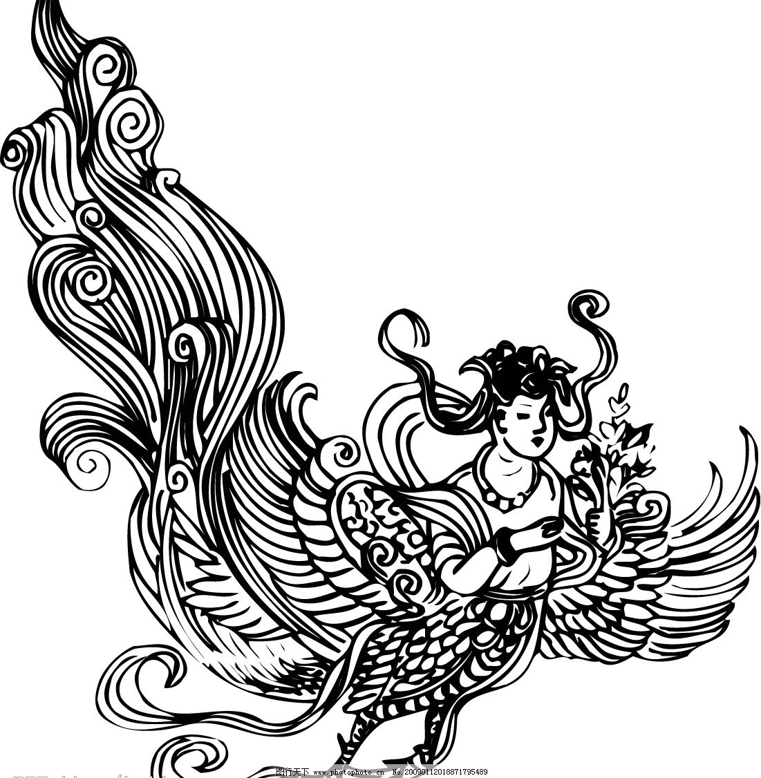 古代 神仙 佛 罗汉 观音 菩萨 黑白 宗教信仰 文化艺术 传统文化 矢量
