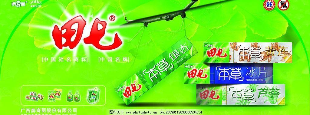 牙膏广告海报 田七牙膏 银杏 认证标志 洗剂素材等 广告设计 海报设计