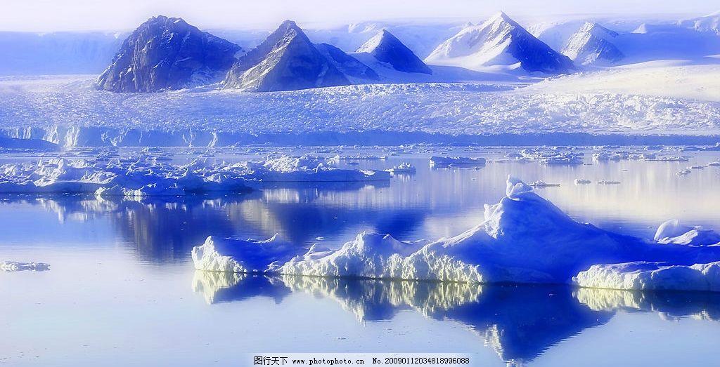 雪山风景 冰雪 河水 湖水 山峰 摄影图库