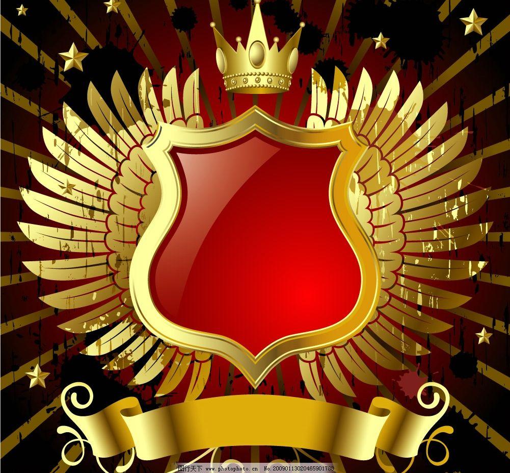 欧式金色盾形花纹花边 皇冠翅膀 发光 五星 底纹边框 边框相框 矢量