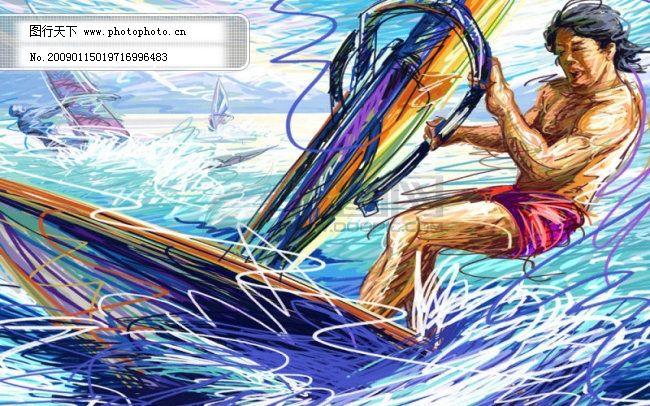 线条手绘人物之帆船免费下载 创意 手绘 运动人物 手绘 画笔线条 运动
