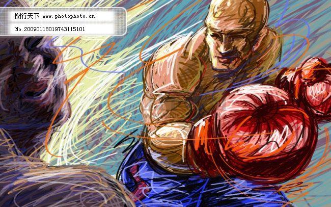 线条手绘人物之拳击