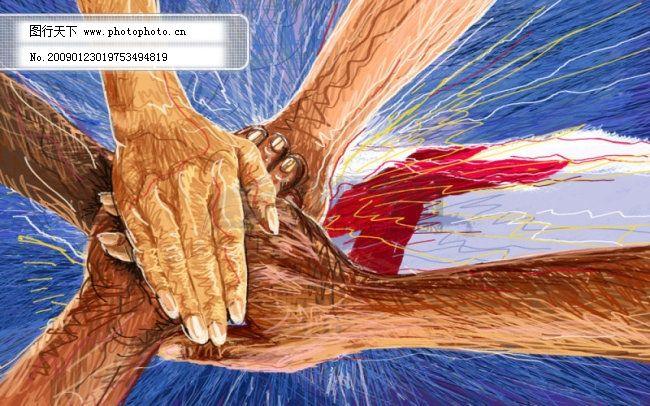 线条手绘人物之团结免费下载 创意 人物 手 手绘 团队 手绘 画笔线条