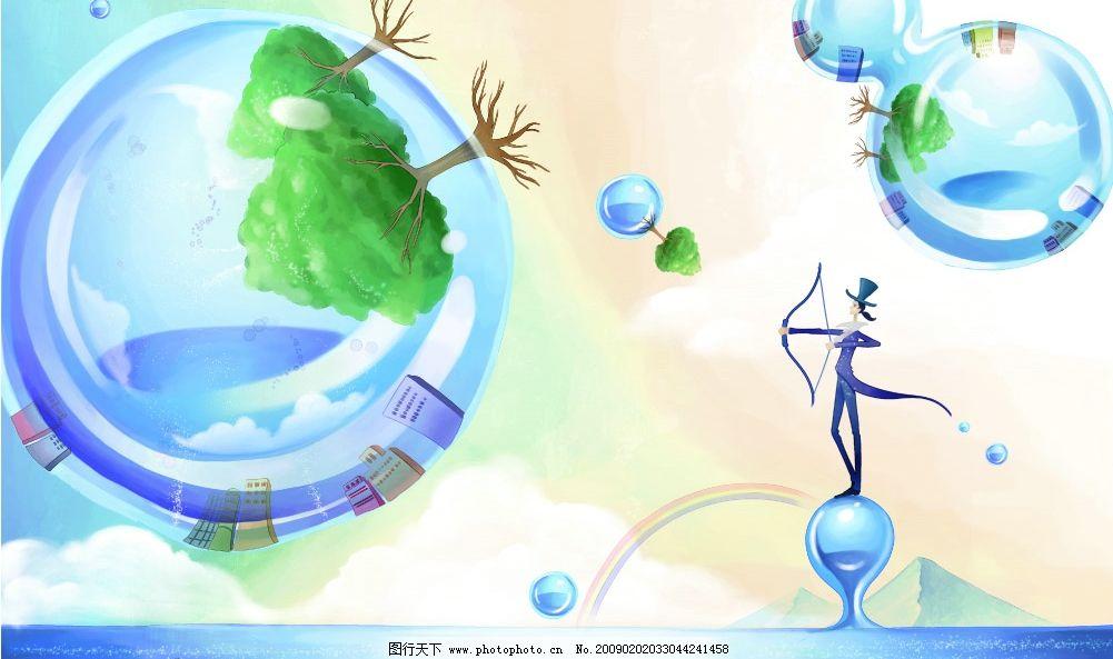 幻想国 人 楼房 倒影 天空 水面 水晶球 树 设计 背影      婚纱 模板