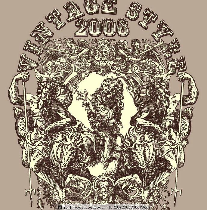 古典 欧洲 图腾 狮子 花纹 标志图片
