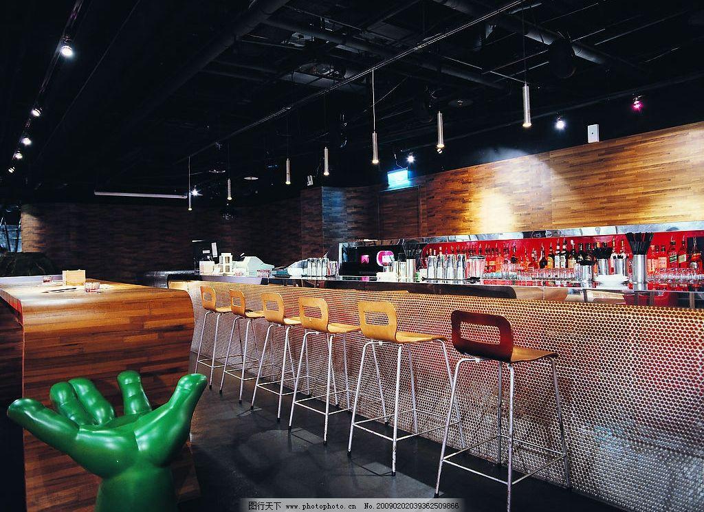 吧台 餐厅 室内设计 酒吧 高脚椅 建筑园林 室内摄影 摄影图库 304dpi