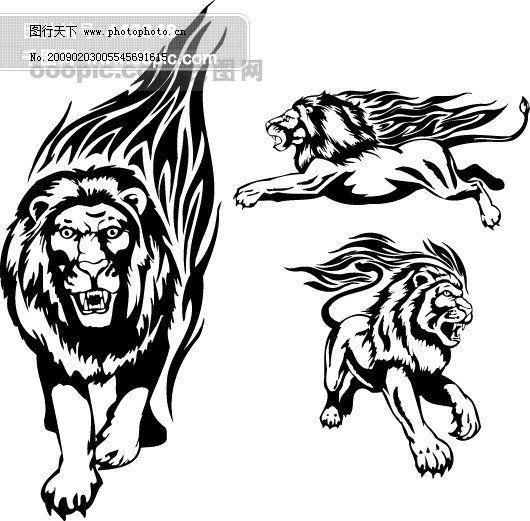 边框 传统图案 底纹 花纹 火焰 狮子 矢量素材 矢量图腾 矢量纹身图案