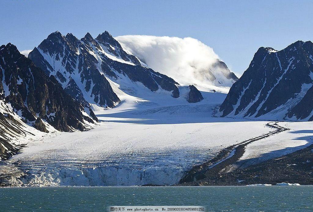 自然风景 雪山 河流 摄影图库
