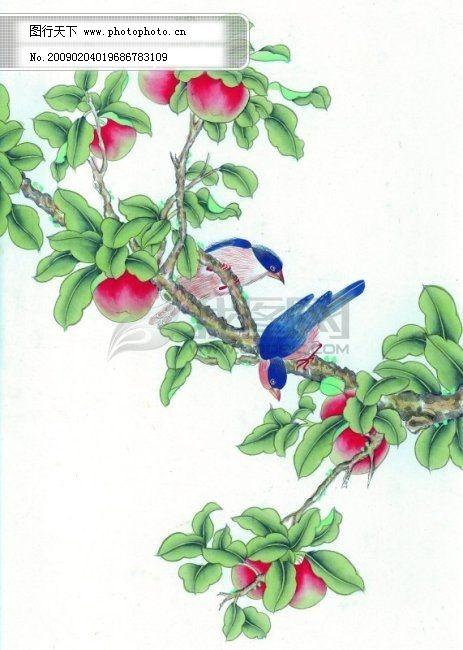 国画 山水画 水墨画 国画免费下载 古典 精品 鸟 桃子 桃子