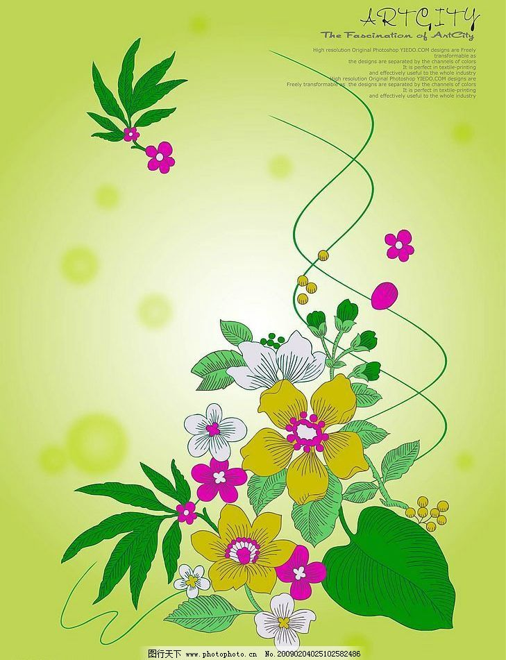 花草 花朵 植物 线条 花纹 背景 矢量图库