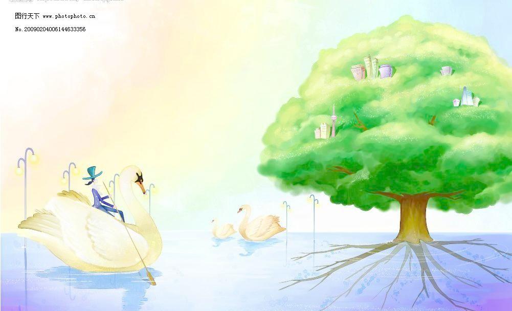 夏天风景模板下载 夏天风景 卡通人物 树木 卡通背景 鹅 水上城市 源