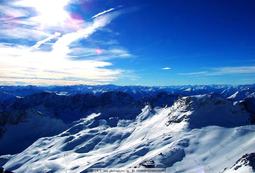 冬季雪景 雪 冰山 雪山 天空 蓝天 自然景观 自然风景 摄影图库 300