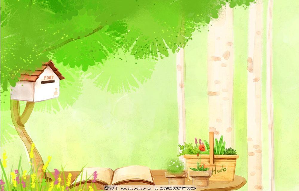 卡通小屋 儿童摄影模板 卡通 树 小房子 绿色 草地 摄影模板 源文件库