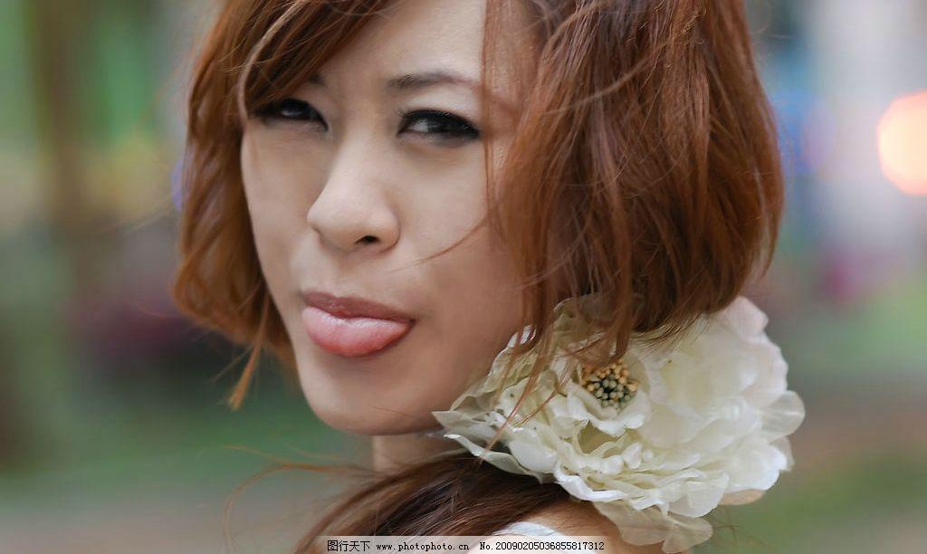 美女 舌头 可爱 脸部 美丽 俏皮 人物图库 女性女人 摄影图库 300dpi