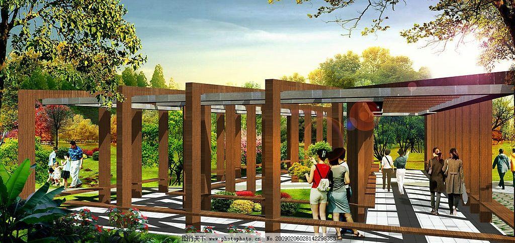 廊架景观 景观设计 公园景观